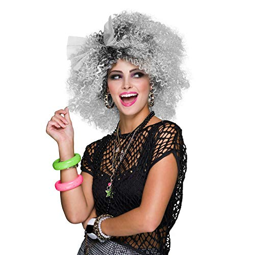 shoperama 80er Jahre Popstar Damen Perücke 2-farbig mit Schleife Dauerwelle Locken Pop-Ikone Trash Sängerin Star -