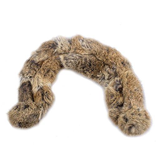 Echte Kaninchen Fell (REFURBISHHOUSE Neue Frauen 100% echtes Kaninchenpelz Kurzer Kragen Ansatz Waermer Schal warme Verpackung braun)