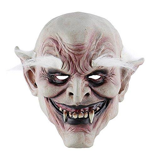Eternitry Halloween Horror Devil Weiß Browed Old Demon Maske Vampire Haunted House Evil Killer Kostüm (Demon Killer Kostüm)
