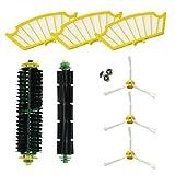 asp-robot Ersatzteile fur die Roomba-Serien 500 505 510 521 530 534 535 545 550 552 555 560 562 564 565 570 571 580 581 585 3x Luftfilter, 3x Seitenbürste, 1x zentrale Rolle. Pack Ersatzteile