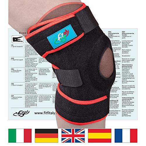FitFitaly Ginocchiera Ortopedica x Legamenti e Rotula - Tutore Ginocchio Regolabile Per Sport - Ambidestra