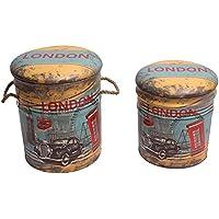 Set 2x sedile bidone coperchio Vintage–Sgabello–sgabello da bagno cesto portabiancheria