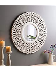 The Urban Store Wood Hand Crafted Round Distressed White Finished Vanity Wall Mirror for Living Room, 27X27 Inches (Multicolor)