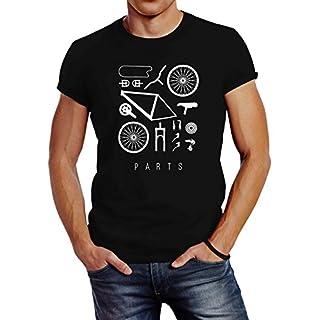 Neverless Fahrrad Teile Herren T-Shirt Bicycle Parts Schwarz M