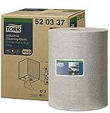 Tork 520337 Panno per pulizia industriale Premium, compatibile con i sistemi W1, W2 e W3, monovelo, 1 conf. x 1 rotolo (1 x 148,2 m), colore grigio