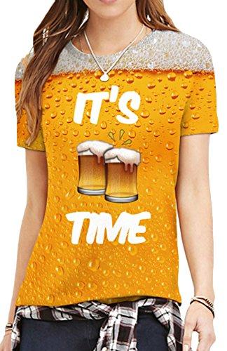 EmilyLe Damen Bunt Druck Shirt Bluse Kurzarm Design Tops Hemd Sommer Beiläufige Kurz Hülsen T-Shirts Bier