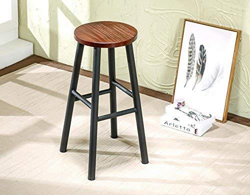Wood bench Atmosphärische Mode Bar Stuhl/Hocker, praktische Esszimmerstuhl, Schmiedeeisen Holz Barhocker,40 * 40 * 65 cm,Schwarz