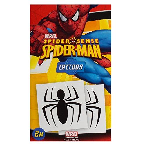 2 Stk Spidersense Spiderman Temporäre Tattoos für (Spiderman Make Up Kostüm)