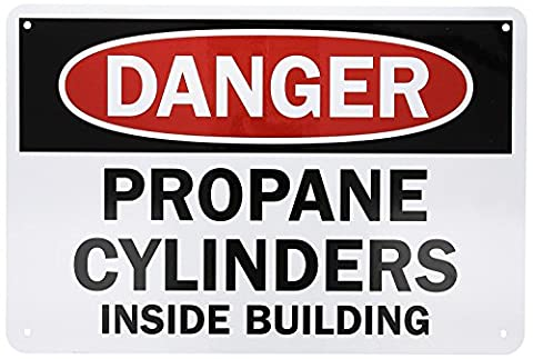 Fhdnagfds Aluminum Sign, Legend Danger: Propane Cylinders Inside Building, 12 High X 18 Wide, Black/Red on
