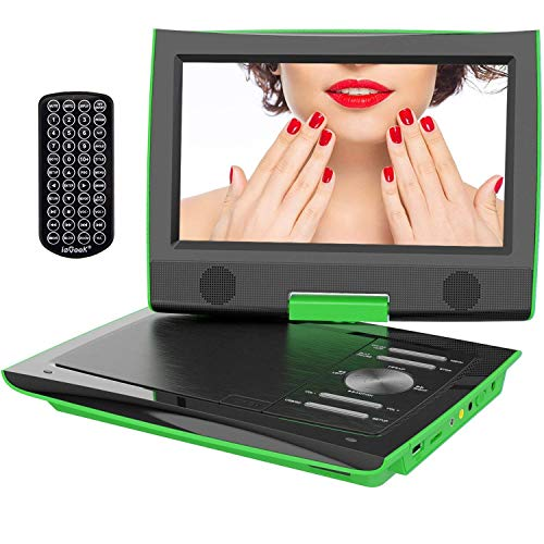 """ieGeek 11.4"""" Tragbarer DVD-Player mit 9"""" Schwenkbildschirm, 5 Stunden Akku Drehbarem Display, AV Out/IN, SD-Karte, USB (Green)"""