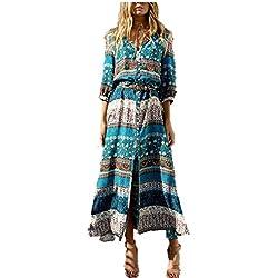 Vestido Maxi Largo de Boho del Verano de Las Mujeres Vestido de Fiesta de Tarde de la Playa de la Fiesta de la Túnica Floral Flojo Ocasional del Cuello V (Azul, EU 38/2XL)