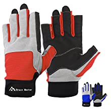 Brace Master men's gloves for sailing, fishing, rowing, kayaking, surfing, canoeing, dinghy and water sports, skin in the palm to improve grip, 3/4 fingers(L, Red)