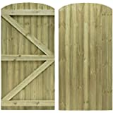 Feather Edge Arched Top Semi Braced Strong Garden Gate Driveway Fence Wood Timber Available in 4 sizes (180cm tall x…