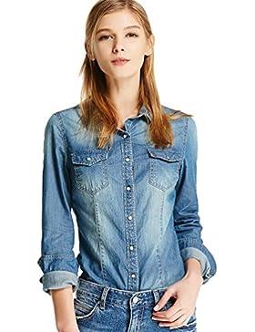 ZhiYuanAN Mujer De Manga Larga Camisa De Mezclilla Casual Blusa Vaqueras Moda Slim Fit Denim Chaqueta Camisas