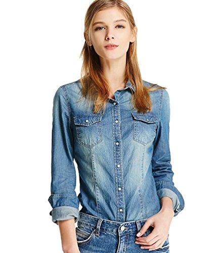 Zhiyuanan camicia a maniche lunghe in denim da donna moda jeans camicetta con tasche casuale sottile jean giacca tops blu marino m