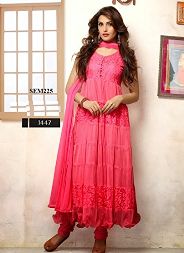 Clcikedia Women Brasso and Net Beautiful long anarkali suit (hot pink)