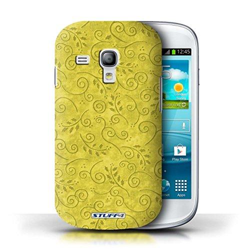 Kobalt® Imprimé Etui / Coque pour Samsung Galaxy S3 Mini / Rose conception / Série Motif Feuille Remous Jaune