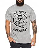 Used Look Los Pollos Herren T-Shirt Heisenberg Hermanos Bad Mr White Breaking, Farbe:Dunkelgrau Meliert;Größe:XXL