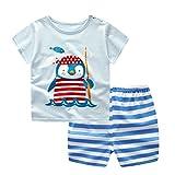 Jimmackey Neonato Unisex T- Shirt Stampa Fumetto Pinguino Cime Camicia + Striscia Pantaloncini Abiti Set (Blu, 3 anni)