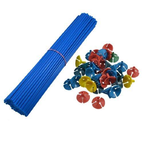 Preisvergleich Produktbild sourcingmap® Ballon Stiele Blau mit Bunten Ballon Haltern 100 Sets