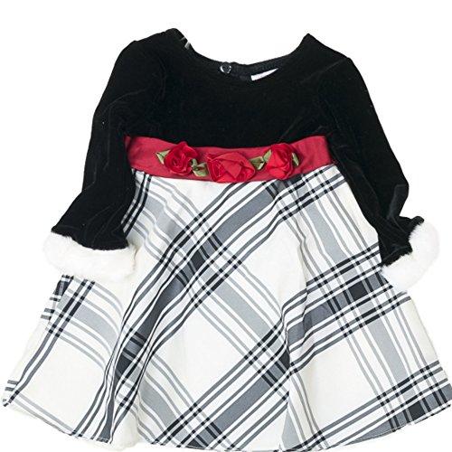 Youngland Baby Mädchen Kleid + Unterhose Samt mit Plüsch Pelz rote Rosen 74