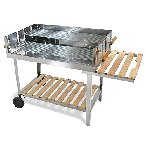 JOM Edelstahl Barbecue Holzkohle Grill Grillwagen BBQ 136x60x93 XXL