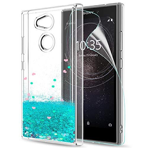 LeYi Hülle Sony Xperia L2 Glitzer Handyhülle mit HD Folie Schutzfolie,Cover TPU Bumper Silikon Flüssigkeit Treibsand Clear Schutzhülle für Case Sony Xperia L2 Handy Hüllen ZX Turquoise