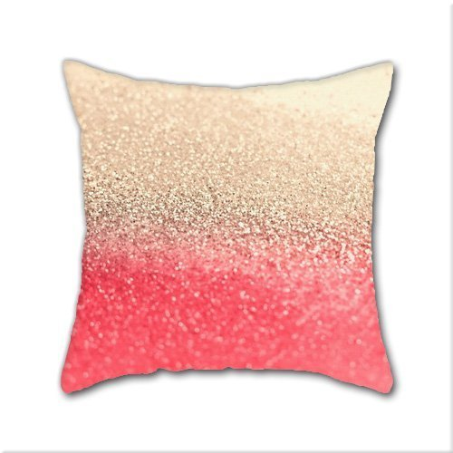 Cotton Linen Throw Pillow, Decorative Pillows.™ Gold Coral Cotton Linen Square Decorative Throw Pillow Case Cushion Cover 18 x 18 Inch