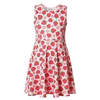 Jxstar Großes Mädchen Kleid Fruchtdruck für Skater Erdbeere Ärmelloses Kleid Strawberry 160