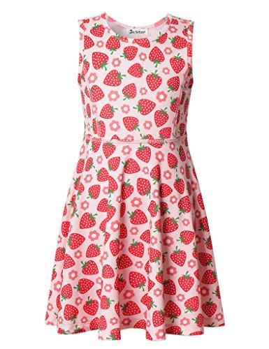 Jxstar Große Mädchen Kleid Fruchtdruck für Skater Erdbeere Muster Ärmelloses Kleid Erdbeere (Chinesische Kostüme Kinder Tanz Für)