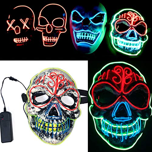 Dance Für Erwachsenen Kostüm - Halloween Scary leuchtende Maske, Cosplay Led Kostüm Maske Licht für Festival Party Dance Ball Rave Cosplay