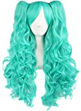 Light Blue : MapofBeauty Lolita Long Curly Clip on Ponytails Cosplay Wig (Light Blue)