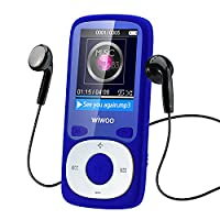 WIWOO 16gb MP3 Player, 1.8 inch Portable Lossless Sound MP4 Music Player with Radio/ Voice Recording, Audio Player include Earphone, Expandable Up to 64GB (Blue)