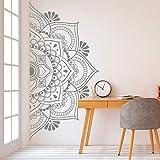 SLQUIET Mandala a Mezza Parete per la casa Decorazione Adesivo Rimovibile in Vinile Yoga Wall Art Soggiorno Camera da Letto Murale Famiglia Giardino Adesivo Moda da Parete 24 Marrone 113x57 cm