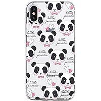 Oihxse Cristal Compatible con iPhone X/iPhone XS Funda Ultra-Delgado Silicona TPU Suave Protector Estuche Creativa Patrón Panda Protector Anti-Choque Carcasa Cover(Panda A9)