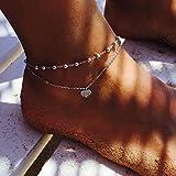 Kercisbeauty Bracelet de cheville double chaîne avec strass en forme de cœur pour la plage, Halloween