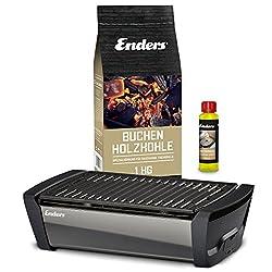 Enders Aurora - Tischgrill Starter-Set, Raucharmer Outdoor Grilltisch mit Holzkohle und Anzündpaste, Mobiler Holzkohle Grill mit Gussrost, rauchfrei, für Picknick, Camping und Balkon, Grillzubehör