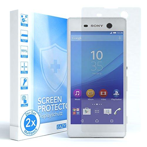 EAZY CASE 2X Panzerglas Bildschirmschutz 9H Härte für Sony Xperia M5, nur 0,3 mm dick I Schutzglas aus gehärteter 2,5D Panzerglasfolie, Bildschirmschutzglas, Transparent/Kristallklar