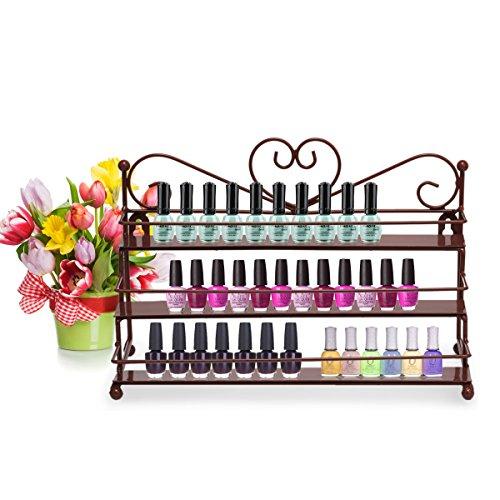 Dazone 3 Etagere für Nagellack, Organizer für Make-up, Kosmetik, Lippenstift, Befestigung an der Wand, 3 Ebenen (Kupfer), Bronze, 27 * 17 * 13cm -