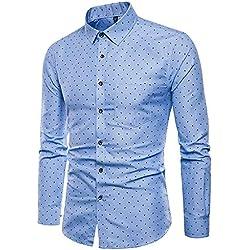 IYFBXl Camisa de Hombre - Estampado de Lunares, Azul Claro, XXXXL