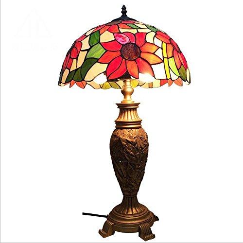 Lyy Retro Europäischer Stil Tischleuchte, Metall Base Sun Blume Gebeizt Glas Lampenschirm Eye-Care Schreibtisch Lampe, 16 Zoll Glas Blumen Base