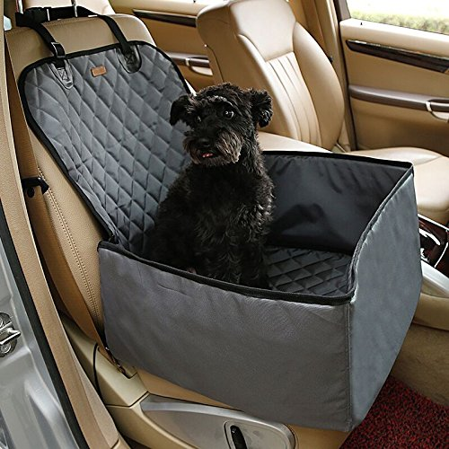 Ardermu Haustier Auto Sitzbezug - 2 in 1 wasserdicht einzigen Haustier Hund Auto Sitzbezug mit Rutschfestem Gummi und Verstellbarer Sicherheitsgurt für die meisten Autos LKW SUVs (Gummi-gurtband-polsterung)