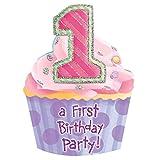Amscan International Riesen Einladungen zum 1. Geburtstag 8 Stück Pink