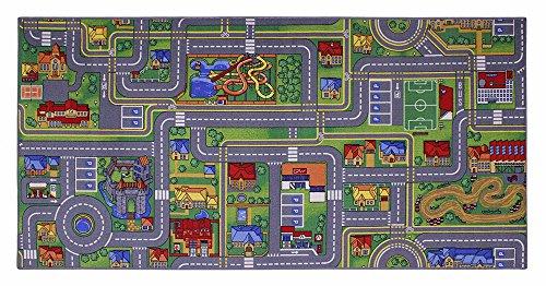 ID Mat 95200 City Ville Gris Tapis Jeux de Cartes Fibre Polyamide/Gel Latex Multicolore 200 x 95 x 0,5 cm
