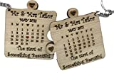 #5: Personalized Wooden Name Couple Keychain - Puzzle Shaped with Month Calender (And Date) and Special Message - Best Anniversary gift