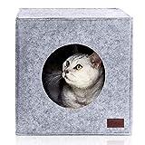 PiuPet® Cama de Gato Incl. cojín, Casa de Gato Adecuada para IKEA® Kallax & Expedit | Cueva Comoda en Gris, óptica de Fieltro, Diseño Elegante y Moderno