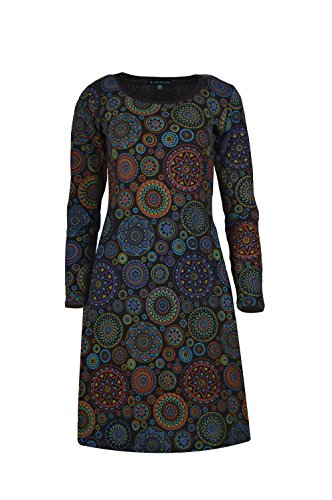 TATTOPANI Frauen Langarm Kleid mit All Over Mandala Print Abendkleid (LMN6021-BLKS) (Mandala-prints)