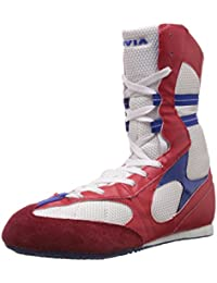 Nivia Men's White and Red Mesh Boxing Shoes