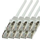 BIGtec - 10 Stück - 1m Netzwerkkabel Patchkabel Ethernet LAN DSL Patch Kabel Gigabit grau (2X RJ-45 Anschluß, CAT5e, geschirmt FTP) 1 Meter