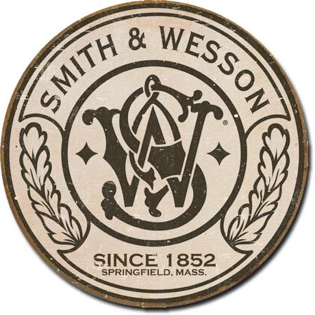 cartel-de-chapa-smith-wesson-round-tamano-28-x-28-cm